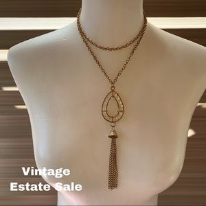 Vintage Estate Sale crystal like gold tone